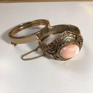Vintage Pink Gold Stone Cuff Bracelets Retro 60s